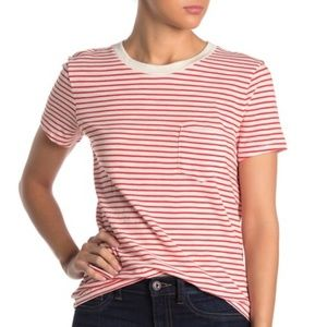 NWT Madewell Striped Persimmon Crew Shirt